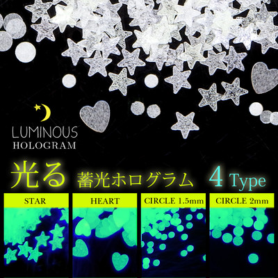 夏ネイル 【蓄光ホログラム 4種】