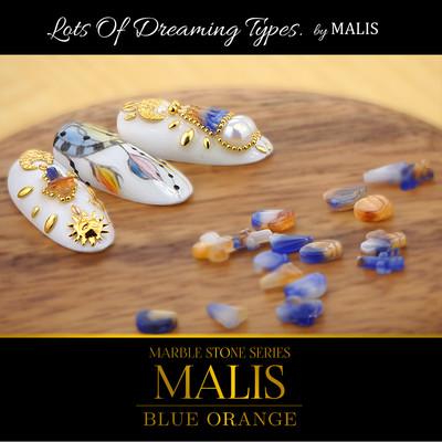 夏ネイル10粒パック【マーブルストーン MALIS-マリス- ブルーオレンジ】6種